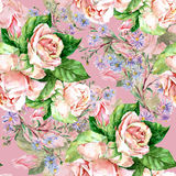 Blue flowers and roses  , watercolor Royalty Free Stock Images