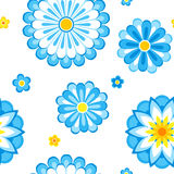 Blue flowers seamless pattern. Seamless pattern of blue flowers. Vector EPS8 Stock Photo