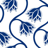 Blue flowers seamless pattern. Stock Photo