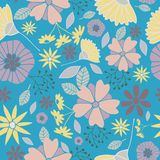 Blue flowers seamless pattern stock illustration