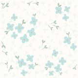 Blue flowers seamless pattern. Vector EPS10 hand drawn floral seamless pattern Stock Image