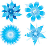 Blue flowers set. Vector iilustration Royalty Free Stock Photos