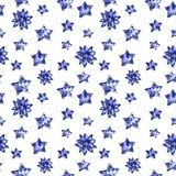 Blue flowers and stars seamless pattern, watercolor illustration vector illustration