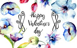 Blue flowers with title Happy Valentine's day. Blue flowers with title Happy Valentine's day, watercolor illustration Stock Images