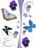 Blue flowers and tree butterflies pattern Royalty Free Stock Image