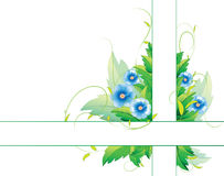 Blue flowers with two strips Stock Images