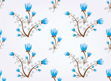 Blue flowers vintage seamless background Royalty Free Stock Images