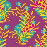 Blue flowers on a violet color. Illustrations textile texture stock illustration