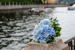 Blue flowers wedding bouquet Stock Images