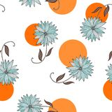 Blue flowers on white background with bright orange dots. Royalty Free Stock Photo