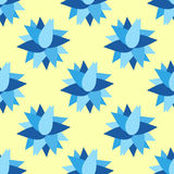 Blue flowers on a yellow background seamless pattern vector illustration. (vector eps 10 stock illustration