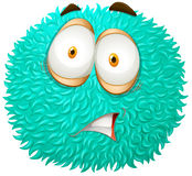 Blue fluffy ball with scared face Stock Image