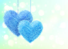 Blue fluffy hearts pair greeting card horizontal Stock Images