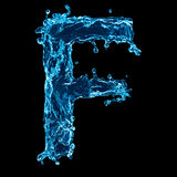 Blue fluid letter F. The letter F of the Latin alphabet made from blue fluid or water on a black background Royalty Free Stock Photography