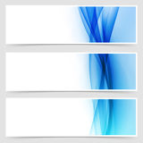 Blue fluid line abstract modern header set Stock Image