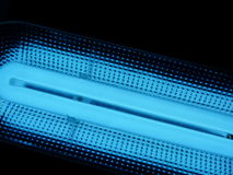 Blue fluorescent lamp Royalty Free Stock Image