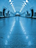 Blue fluorescent tunnel, nobody subway Royalty Free Stock Image