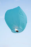 Blue flying latern Royalty Free Stock Images
