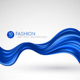 Blue flying silk fabric. Fashion background. Vector illustration Royalty Free Stock Photography
