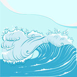 Blue foamy sea wave Royalty Free Stock Photos