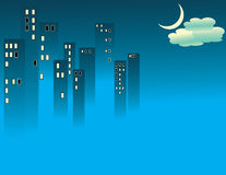 Blue Fog City. Blue fog obscures the bottoms of skyscrapers in an abstract vector illustration Royalty Free Stock Photo