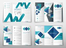 Leaflet cover presentation abstract geometric background, layout in A4 size Blue fold set technology annual report vector illustration