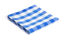 Blue folded tablecloth isolated stock photo