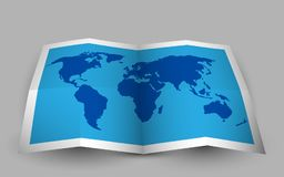 Blue folded world map. Vector illustration Royalty Free Stock Photo