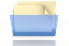 Blue Folder. Opening with papers inside on a white background. Clipping path included Royalty Free Stock Photo