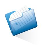 Blue folder. Vector blue folder with document Royalty Free Stock Photos
