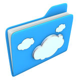 Blue Folder Cloud. Blue folder with cloud symbol on the white background Stock Photography