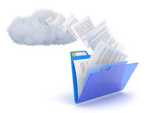 Blue folder with cloud. Blue folder with cloud and documents over white Royalty Free Stock Image