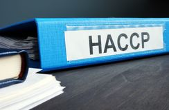 Folder with documents HACCP Hazard Analysis and Critical Control Points royalty free stock photo