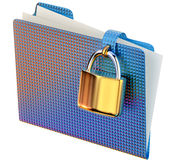 Blue folder with golden hinged lock Stock Photos