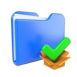 Blue Folder with Green Check Mark. Royalty Free Stock Images
