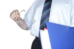 Blue folder in hand Royalty Free Stock Photography