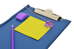 Blue folder, pencil and eraser Royalty Free Stock Photography