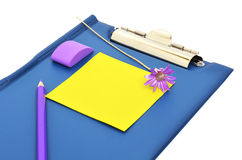 Blue folder, pencil and eraser. Isolated on the white background royalty free stock image
