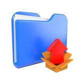 Blue Folder with Red Arrow. Royalty Free Stock Photos