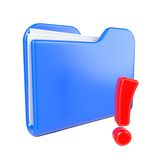 Blue Folder with Red Exclamation Sign. Stock Photography