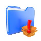 Blue Folder with Red Exclamation Sign. Stock Photo