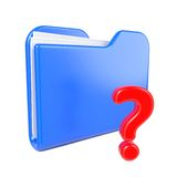 Blue Folder with Red Question Sign. Stock Photos