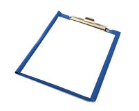 Blue folder with white sheet on it Stock Image
