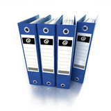 Blue folders. 3D-rendering of a group of ring binders in blue Stock Image
