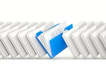 Blue folders in a row Royalty Free Stock Photo