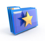Blue folders with a star. Royalty Free Stock Images