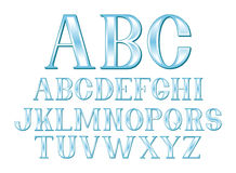 Blue Font. A font set of glassy blue letters in uppercase Stock Photo