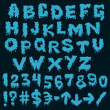 Blue font smudges. alphabet splashing Royalty Free Stock Image