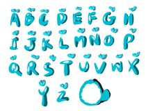 Blue font style. Blue fonts pack and icon stock illustration