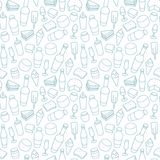 Blue food line icon seamless pattern Stock Photography